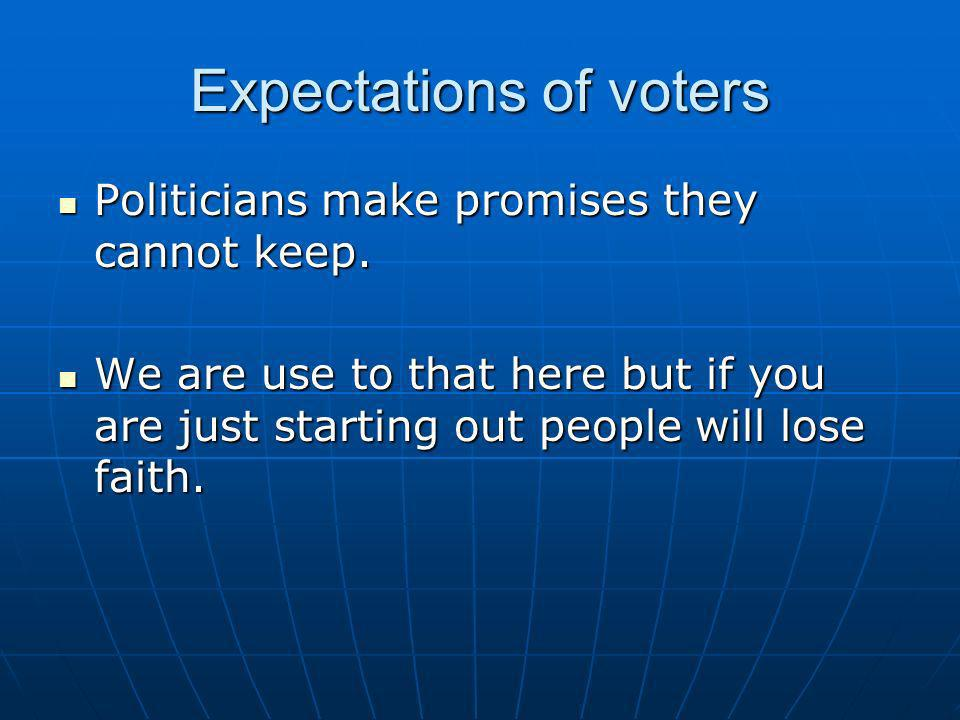 Expectations of voters Politicians make promises they cannot keep. Politicians make promises they cannot keep. We are use to that here but if you are