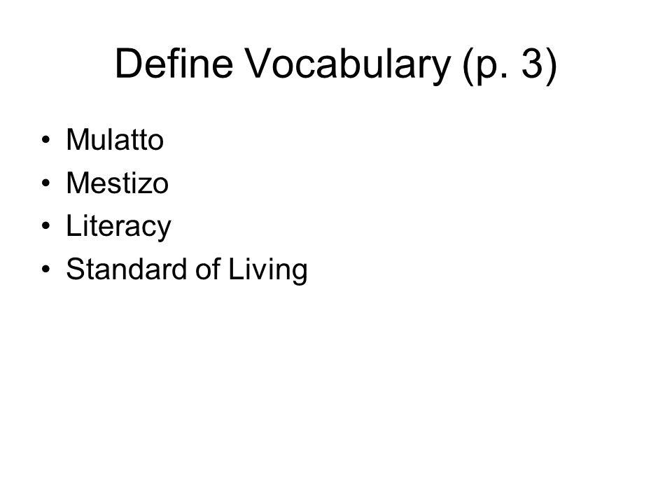 Define Vocabulary (p. 3) Mulatto Mestizo Literacy Standard of Living