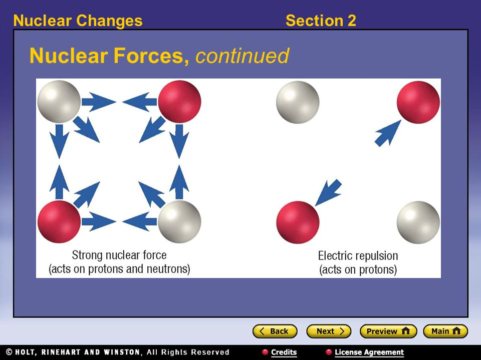 Section 2Nuclear Changes Nuclear Forces, continued