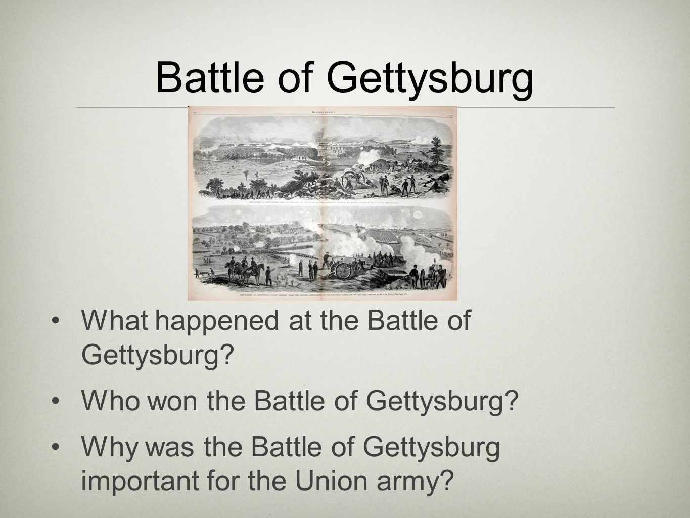 What happened at the Battle of Gettysburg? Who won the Battle of Gettysburg? Why was the Battle of Gettysburg important for the Union army?