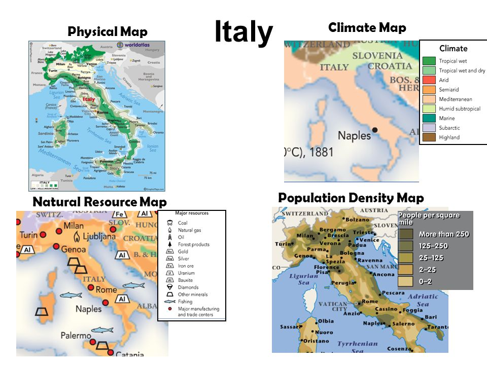 Italy Physical Map Climate Map Natural Resource Map Population Density Map