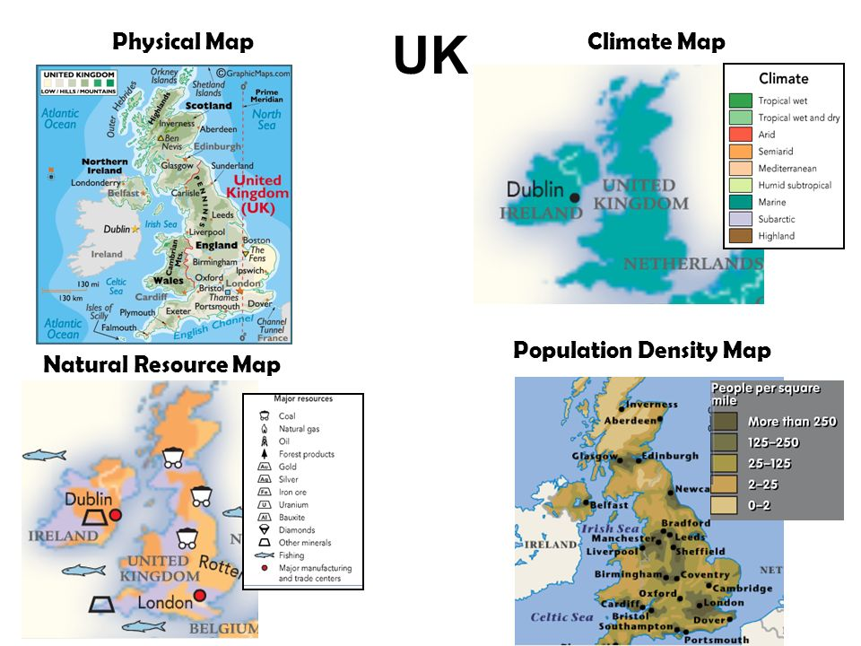 UK Physical MapClimate Map Natural Resource Map Population Density Map