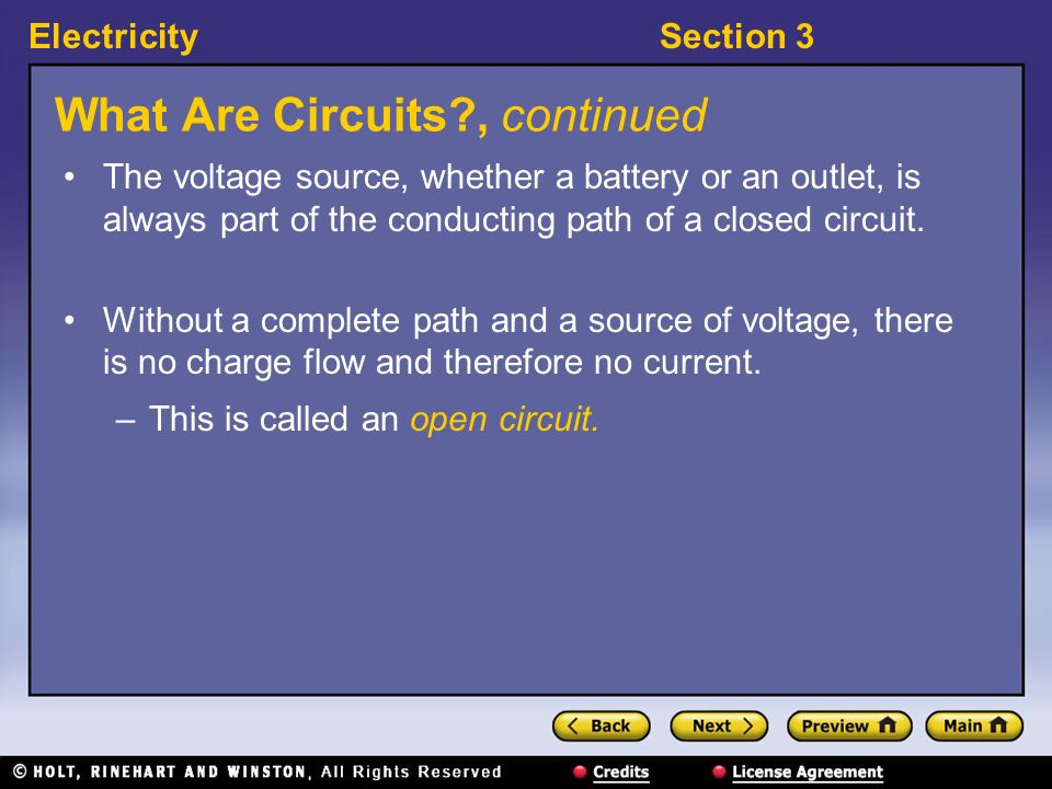ElectricitySection 3 What Are Circuits? What is a closed circuit? The conducting path produced when a load, such as a string of light bulbs, is connec