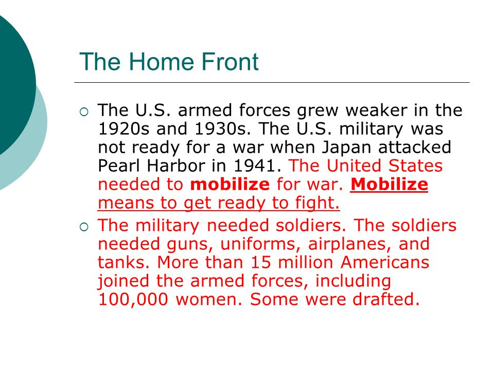 The Home Front The government spent billions of dollars in supplies.
