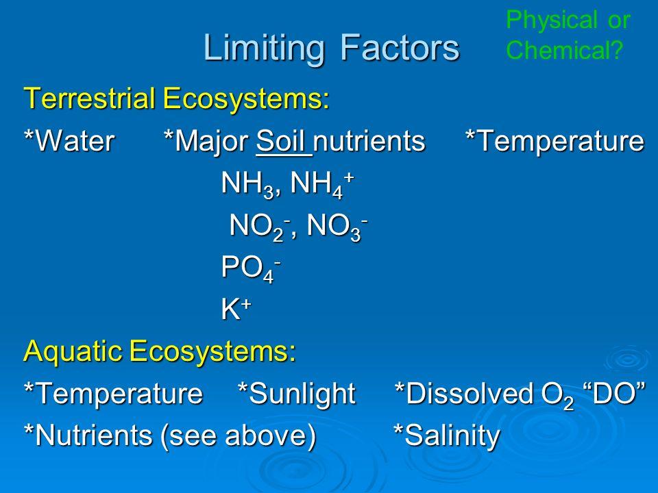 Limiting Factors Terrestrial Ecosystems: *Water *Major Soil nutrients *Temperature NH 3, NH 4 + NO 2 -, NO 3 - NO 2 -, NO 3 - PO 4 - K+K+K+K+ Aquatic