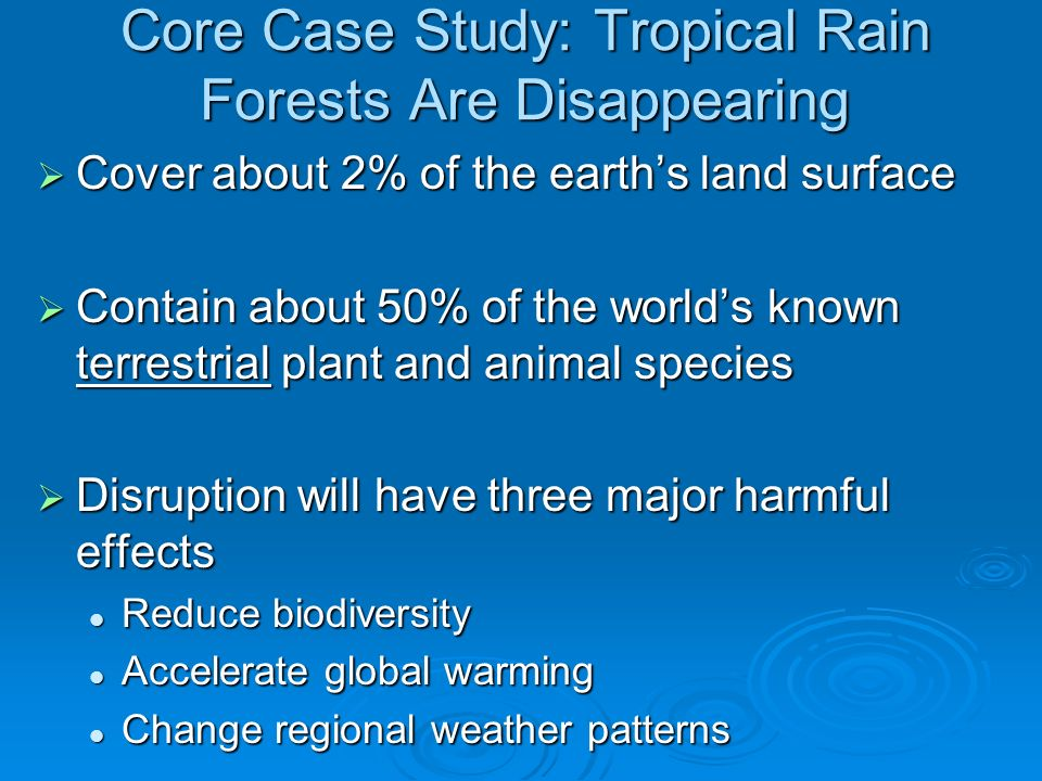 Cover about 2% of the earths land surface Cover about 2% of the earths land surface Contain about 50% of the worlds known terrestrial plant and animal