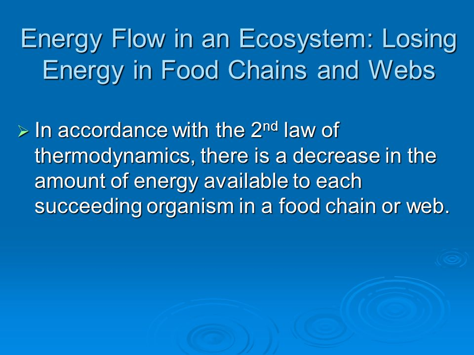 Energy Flow in an Ecosystem: Losing Energy in Food Chains and Webs In accordance with the 2 nd law of thermodynamics, there is a decrease in the amoun
