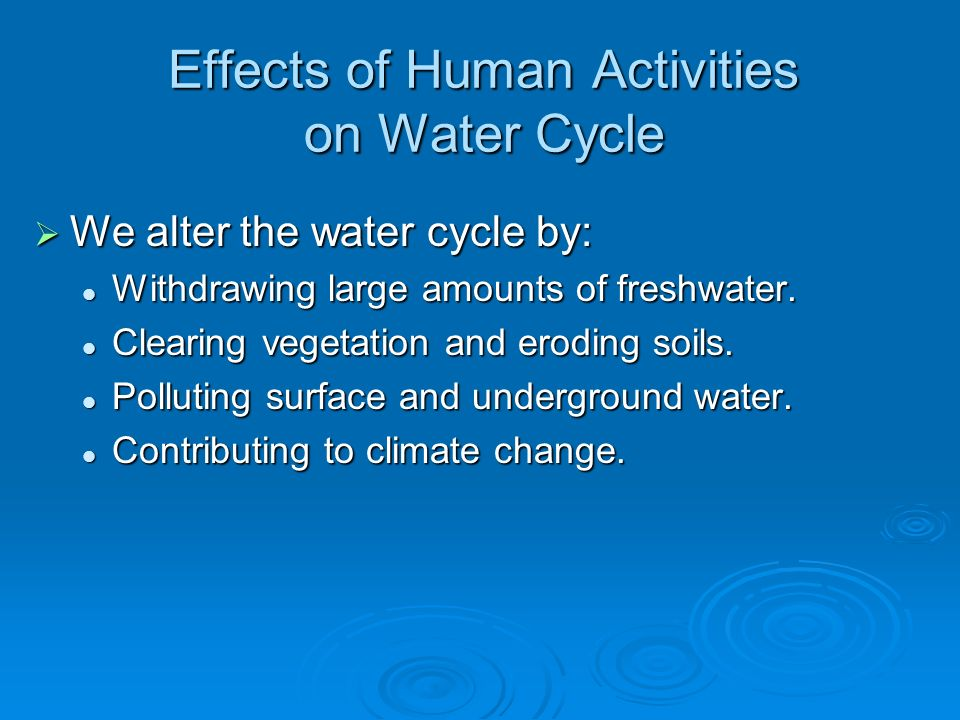 Effects of Human Activities on Water Cycle We alter the water cycle by: We alter the water cycle by: Withdrawing large amounts of freshwater. Withdraw