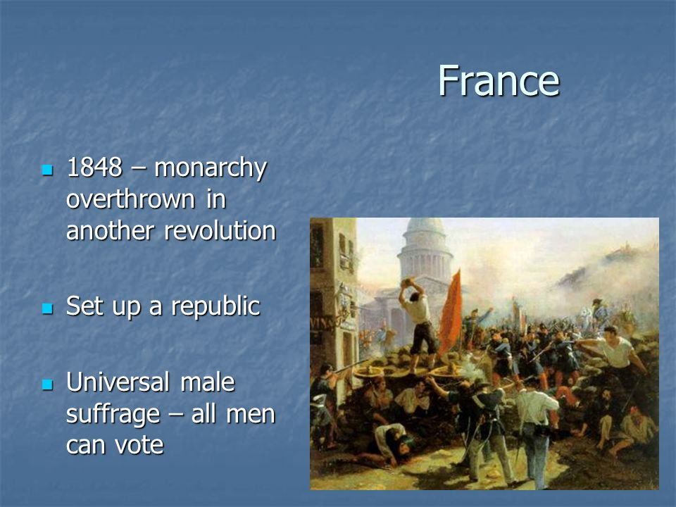 France 1848 – monarchy overthrown in another revolution 1848 – monarchy overthrown in another revolution Set up a republic Set up a republic Universal