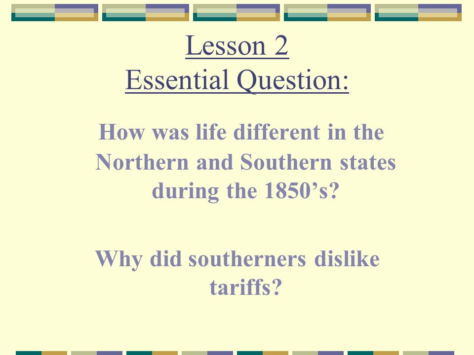 North and South The many differences between the North and South divided the two regions.