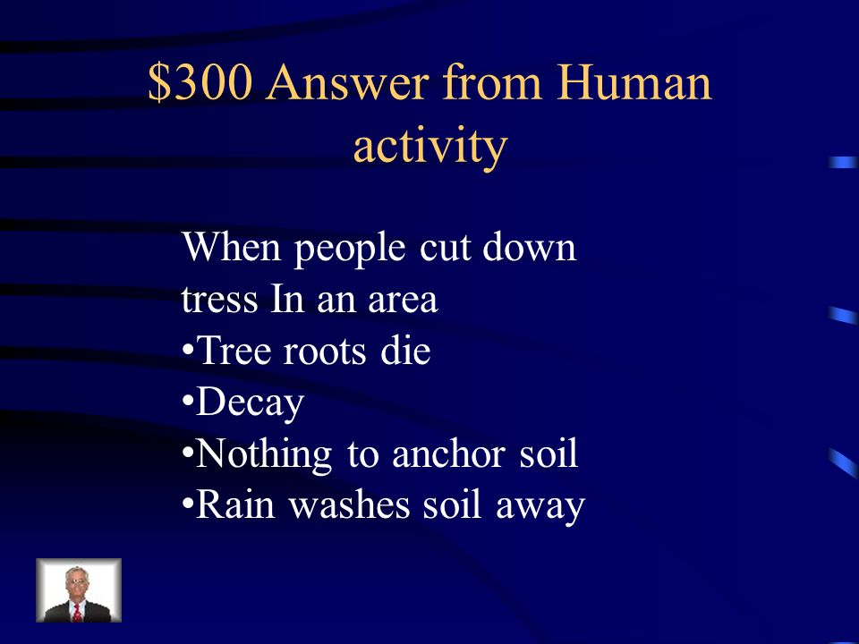 $300 Question from human activity What is logging? And what does it do to the soil?