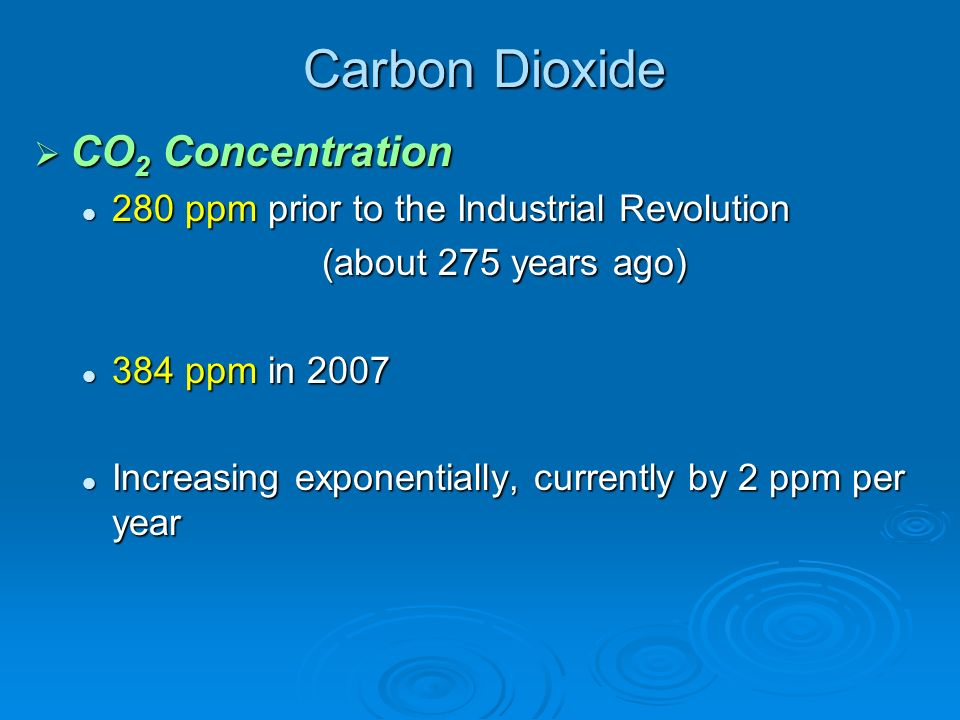 Carbon Dioxide CO 2 Concentration CO 2 Concentration 280 ppm prior to the Industrial Revolution 280 ppm prior to the Industrial Revolution (about 275