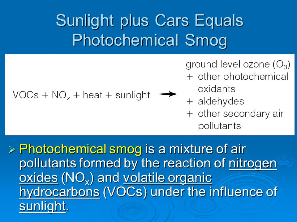 Sunlight plus Cars Equals Photochemical Smog Photochemical smog is a mixture of air pollutants formed by the reaction of nitrogen oxides (NO x ) and v