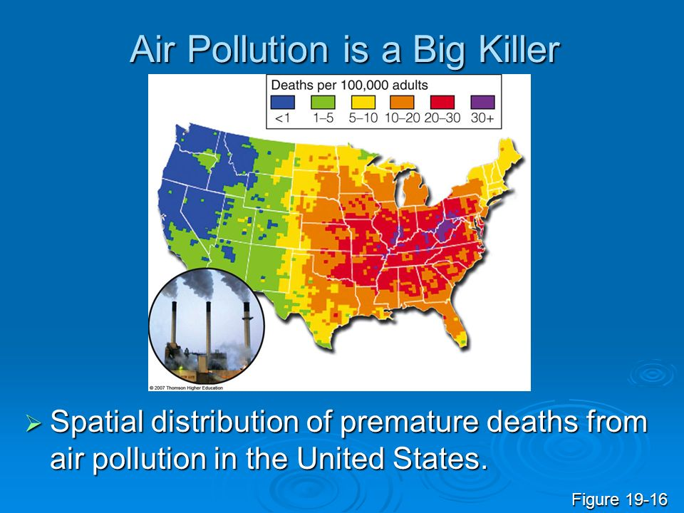 Air Pollution is a Big Killer Spatial distribution of premature deaths from air pollution in the United States. Spatial distribution of premature deat