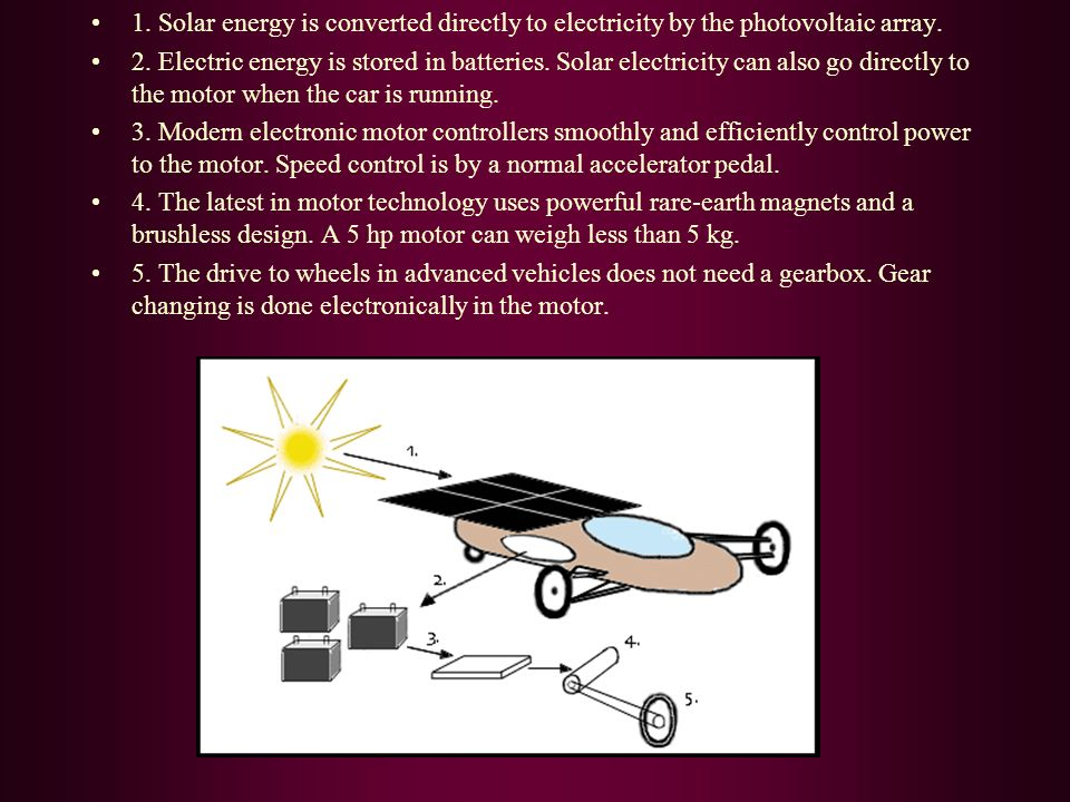 1.Solar energy is converted directly to electricity by the photovoltaic array.