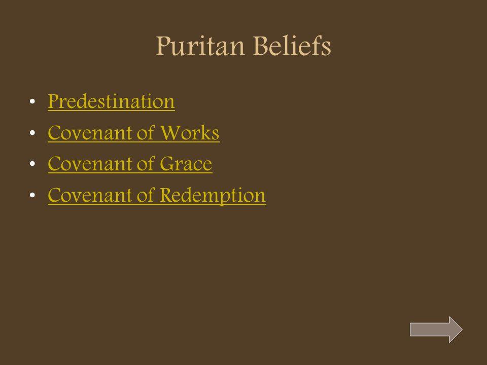 Puritan Beliefs Predestination Covenant of Works Covenant of Grace Covenant of Redemption