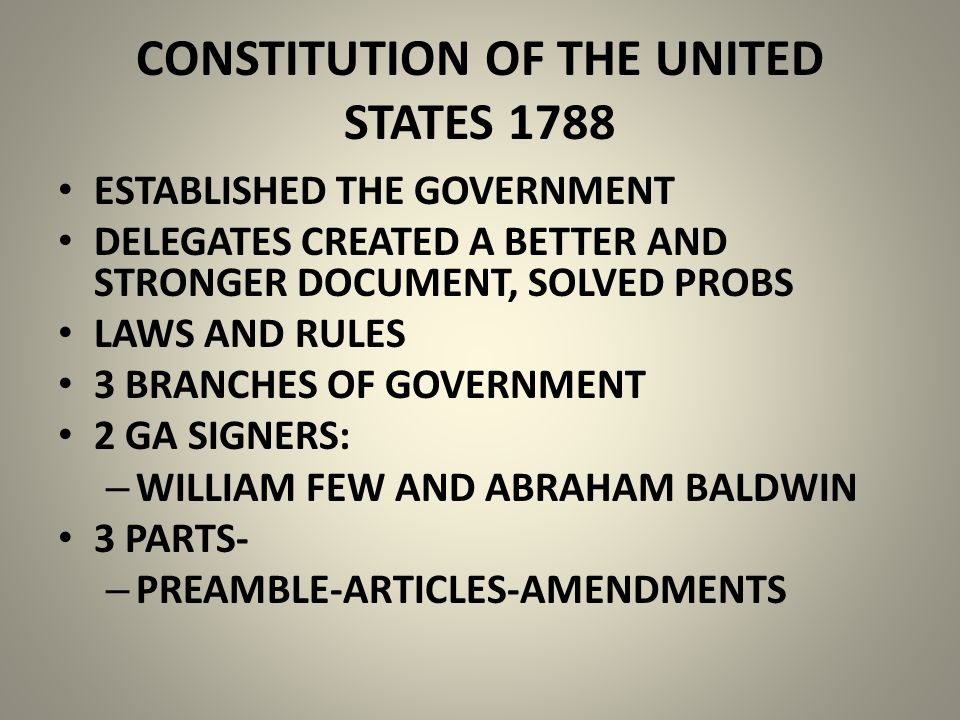 CONSTITUTION OF THE UNITED STATES 1788 ESTABLISHED THE GOVERNMENT DELEGATES CREATED A BETTER AND STRONGER DOCUMENT, SOLVED PROBS LAWS AND RULES 3 BRANCHES OF GOVERNMENT 2 GA SIGNERS: – WILLIAM FEW AND ABRAHAM BALDWIN 3 PARTS- – PREAMBLE-ARTICLES-AMENDMENTS