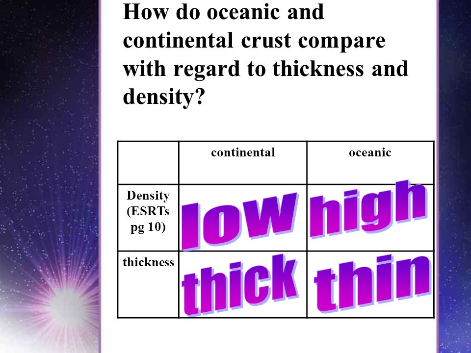 How do oceanic and continental crust compare with regard to thickness and density.