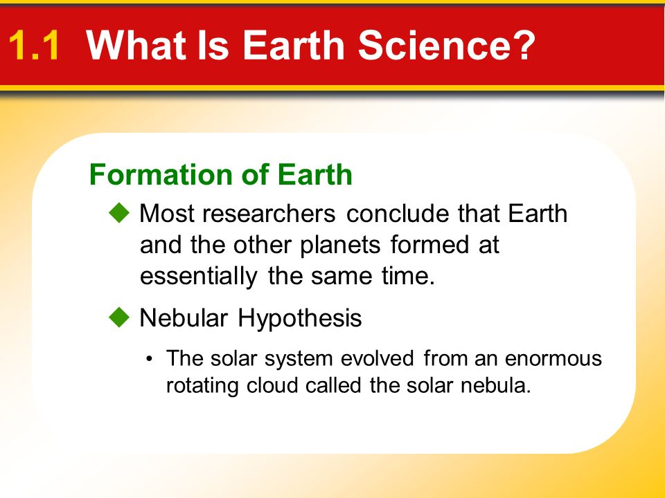 Formation of Earth The solar system evolved from an enormous rotating cloud called the solar nebula. Most researchers conclude that Earth and the othe