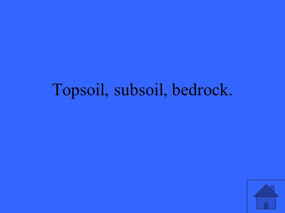 Topsoil, subsoil, bedrock.