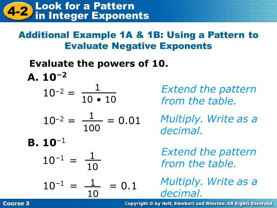 Course 3 4-2 Look for a Pattern in Integer Exponents Additional Example 1A & 1B: Using a Pattern to Evaluate Negative Exponents Evaluate the powers of