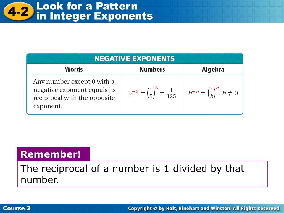 Course 3 4-2 Look for a Pattern in Integer Exponents NEGATIVE EXPONENTS The reciprocal of a number is 1 divided by that number. Remember!