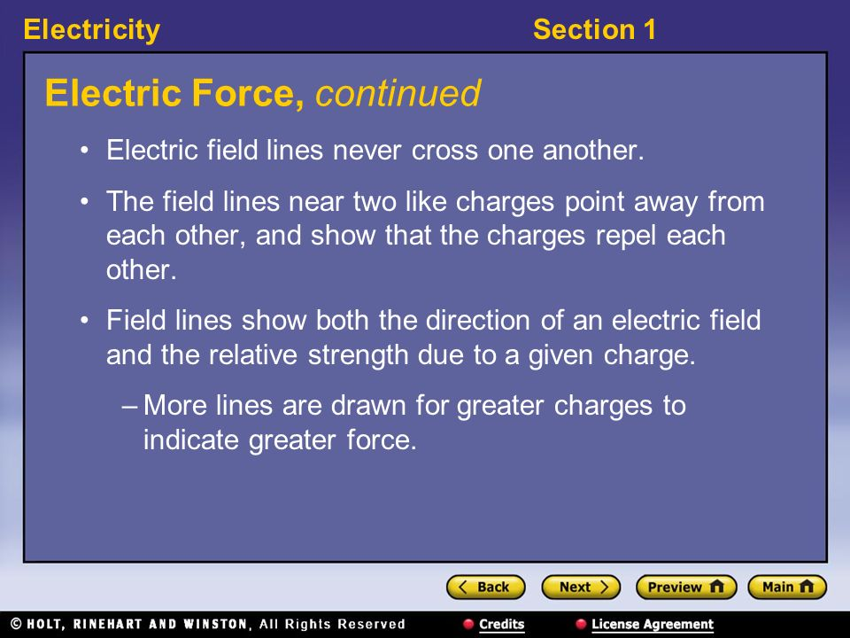 ElectricitySection 1 Electric Force, continued Electric field lines never cross one another. The field lines near two like charges point away from eac