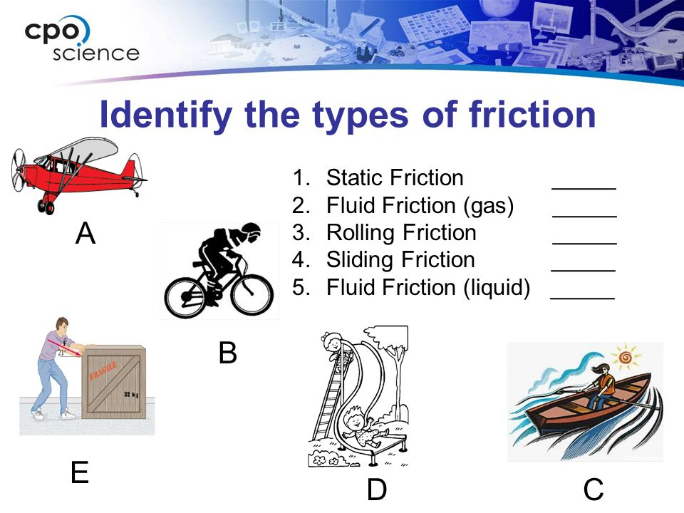 Identify the types of friction 1.Static Friction _____ 2.Fluid Friction (gas) _____ 3.Rolling Friction _____ 4.Sliding Friction _____ 5.Fluid Friction