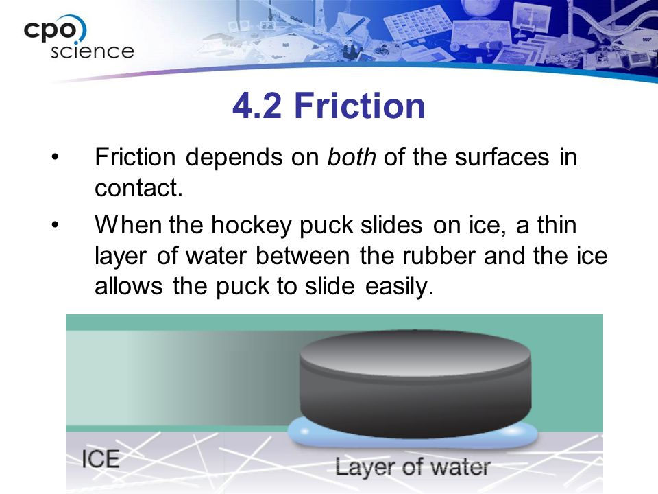4.2 Friction Friction depends on both of the surfaces in contact. When the hockey puck slides on ice, a thin layer of water between the rubber and the