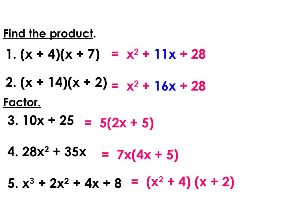 Find the product.1.(x + 4)(x + 7) 2.(x + 14)(x + 2) = x 2 + 16x + 28 = 5(2x + 5) Factor.