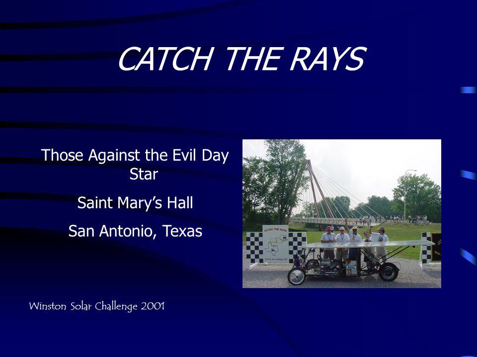 CATCH THE RAYS Those Against the Evil Day Star Saint Marys Hall San Antonio, Texas Winston Solar Challenge 2001