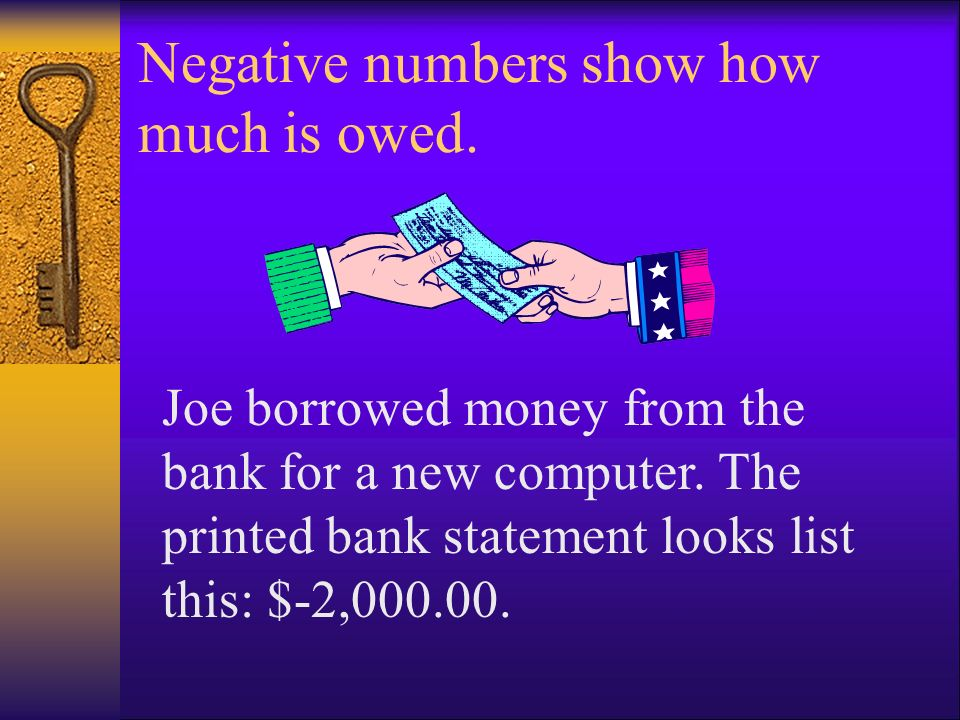 Negative numbers show how much is owed. Joe borrowed money from the bank for a new computer. The printed bank statement looks list this: $-2,000.00.