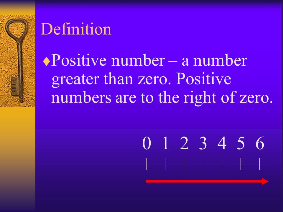 Definition Positive number – a greater than zero. Positive numbers are to the right of zero. 0123456