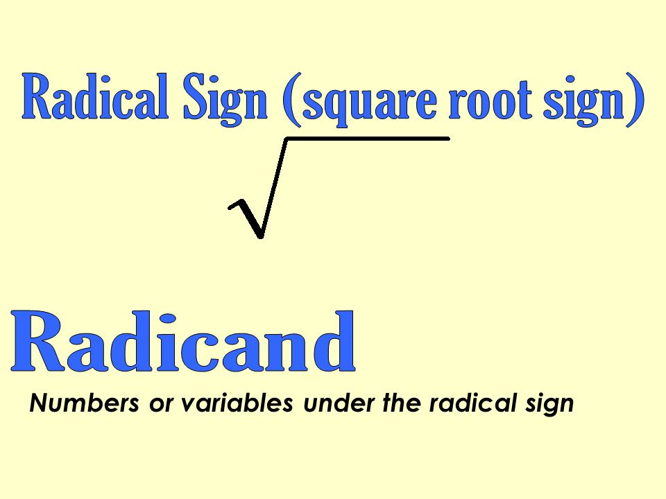 Numbers or variables under the radical sign