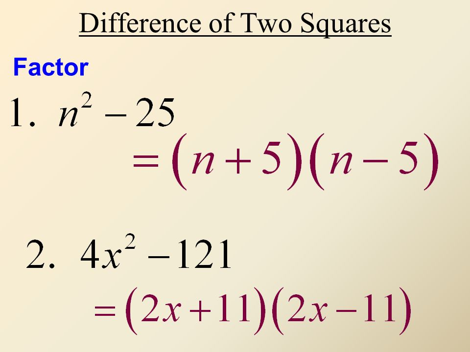 Difference of Two Squares Factor