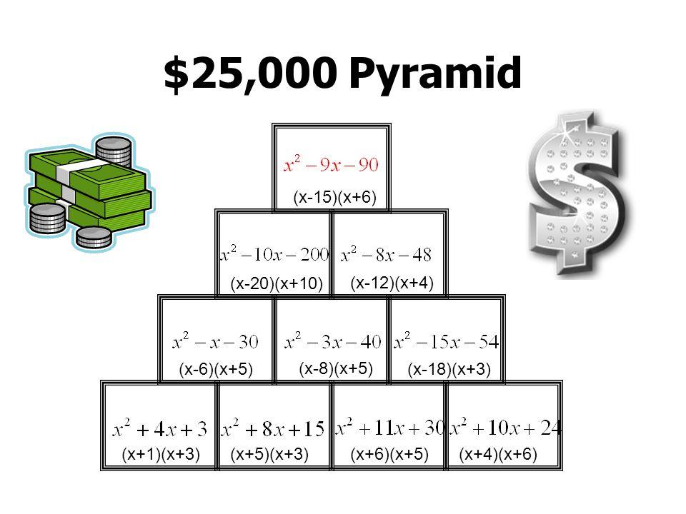 $25,000 Pyramid (x+1)(x+5)(x+9)(x+2)(x+4)(x+8)(x+7)(x+9) (x-5)(x+4) (x-6)(x+3) (x-13)(x+3) (x-10)(x+10) (x-11)(x+6) (x-14)(x+5)