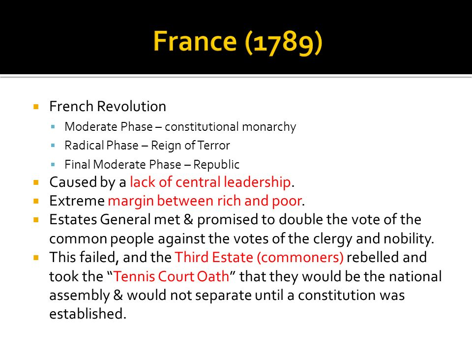 French Revolution Moderate Phase – constitutional monarchy Radical Phase – Reign of Terror Final Moderate Phase – Republic Caused by a lack of central