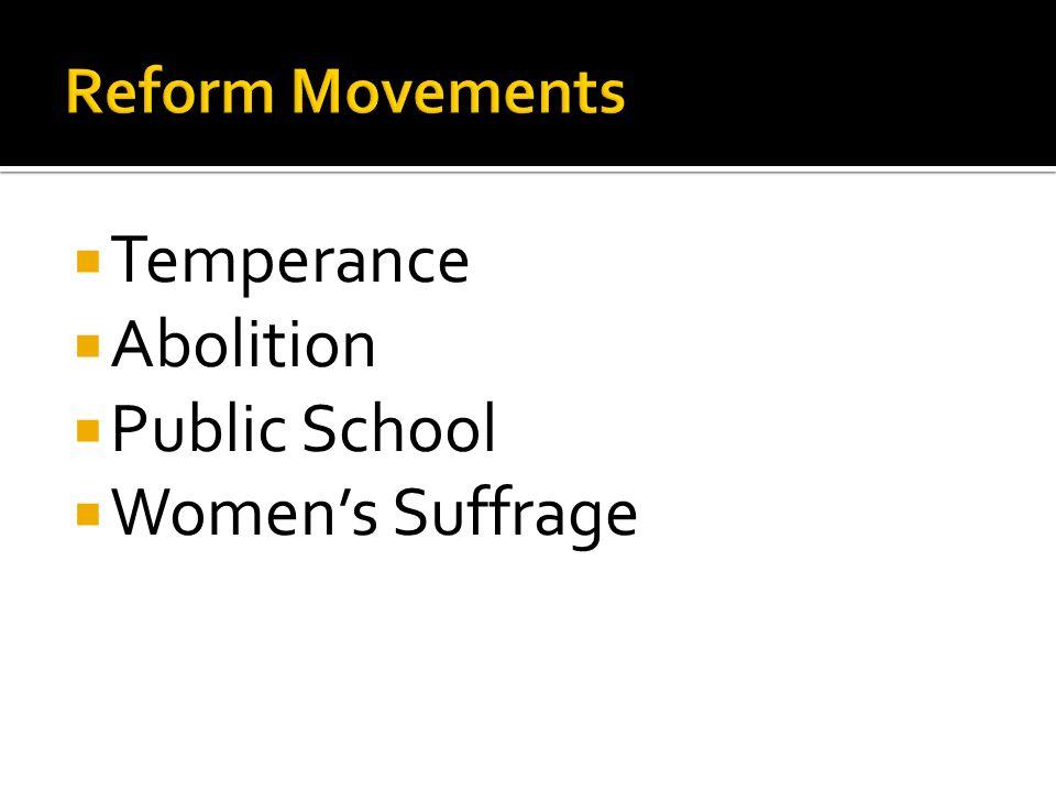 Temperance Abolition Public School Womens Suffrage