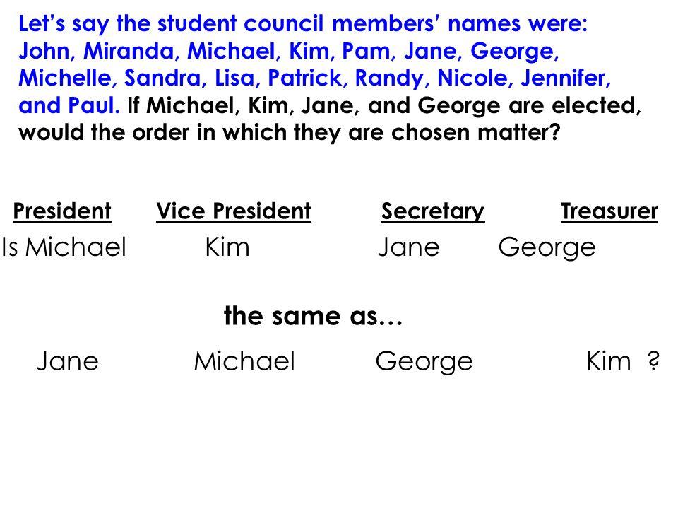 Lets say the student council members names were: John, Miranda, Michael, Kim, Pam, Jane, George, Michelle, Sandra, Lisa, Patrick, Randy, Nicole, Jennifer, and Paul.