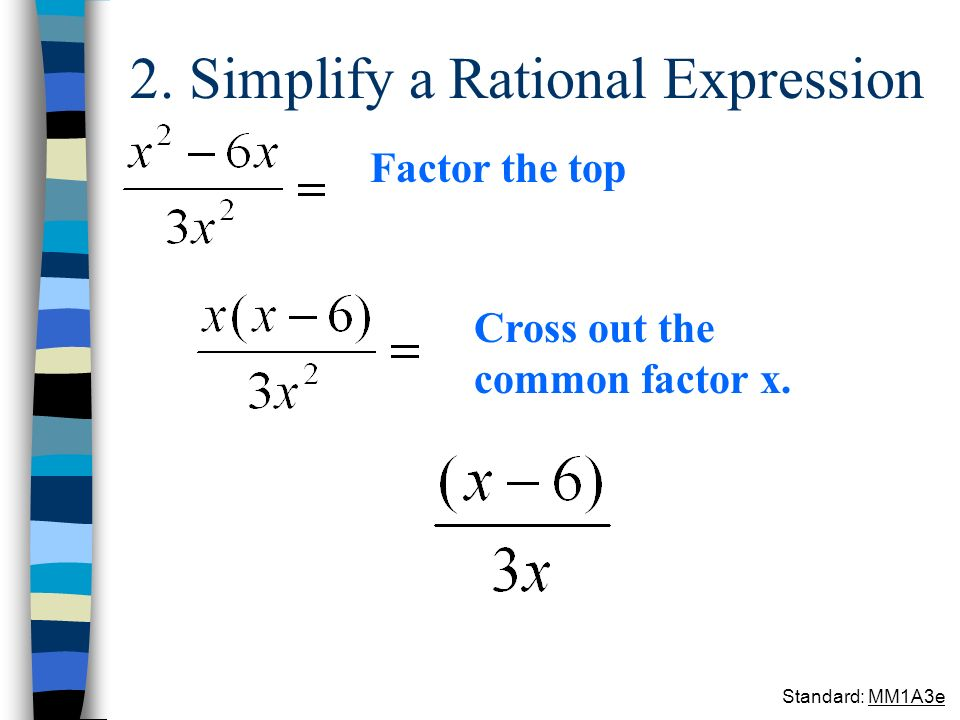 2. Simplify a Rational Expression Factor the top Cross out the common factor x. Standard: MM1A3e