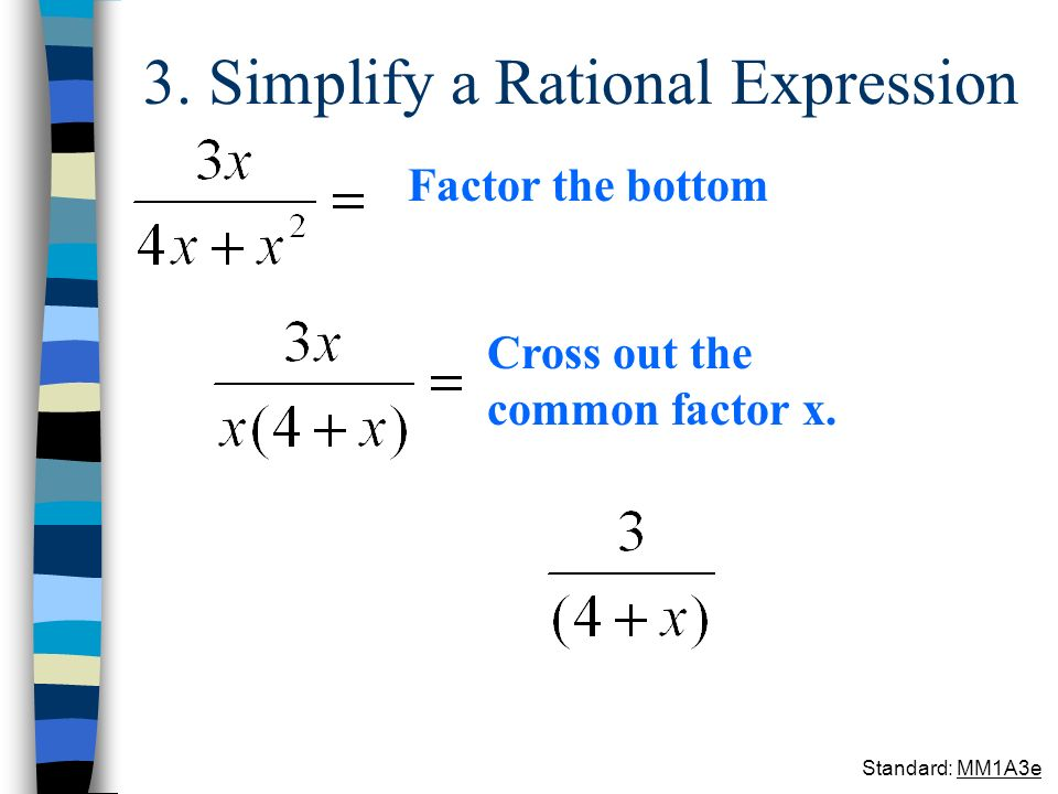 3. Simplify a Rational Expression Factor the bottom Cross out the common factor x. Standard: MM1A3e
