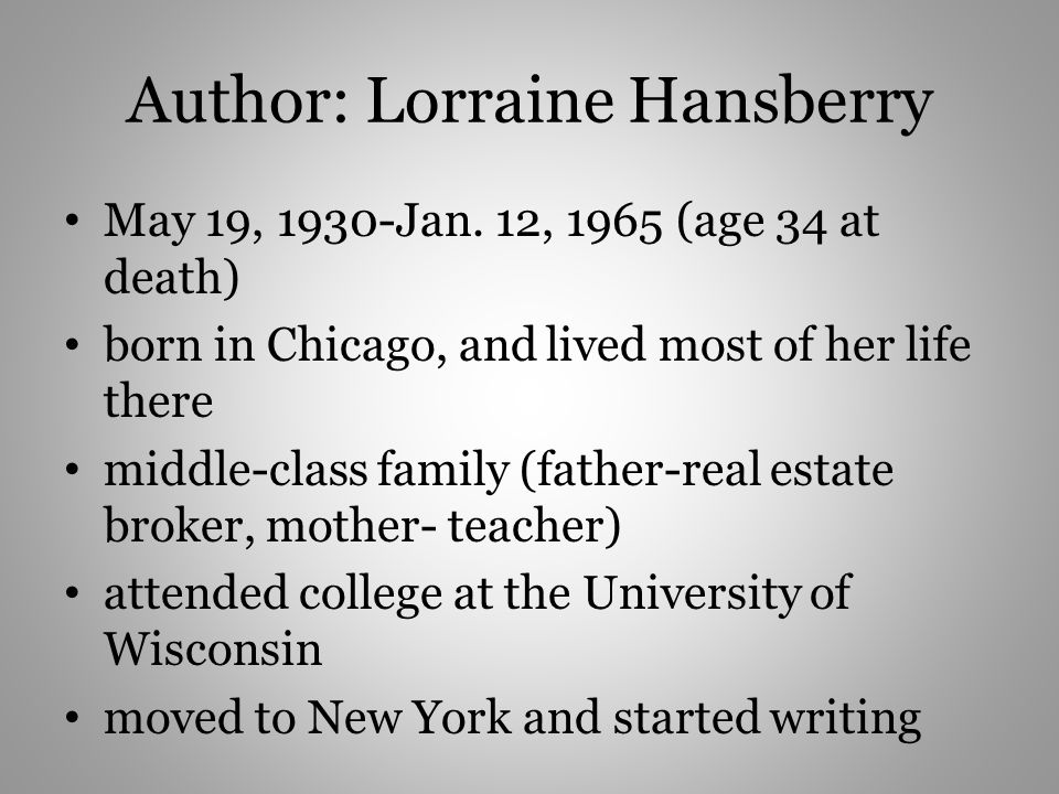 Author: Lorraine Hansberry May 19, 1930-Jan. 12, 1965 (age 34 at death) born in Chicago, and lived most of her life there middle-class family (father-