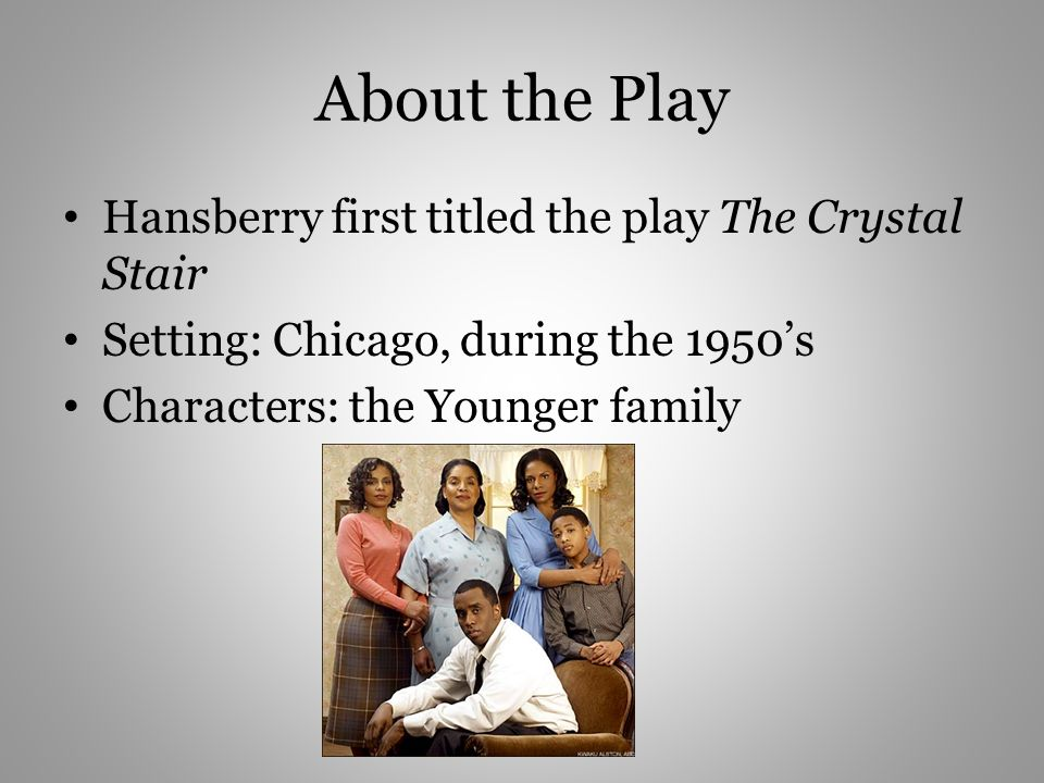 About the Play Hansberry first titled the play The Crystal Stair Setting: Chicago, during the 1950s Characters: the Younger family