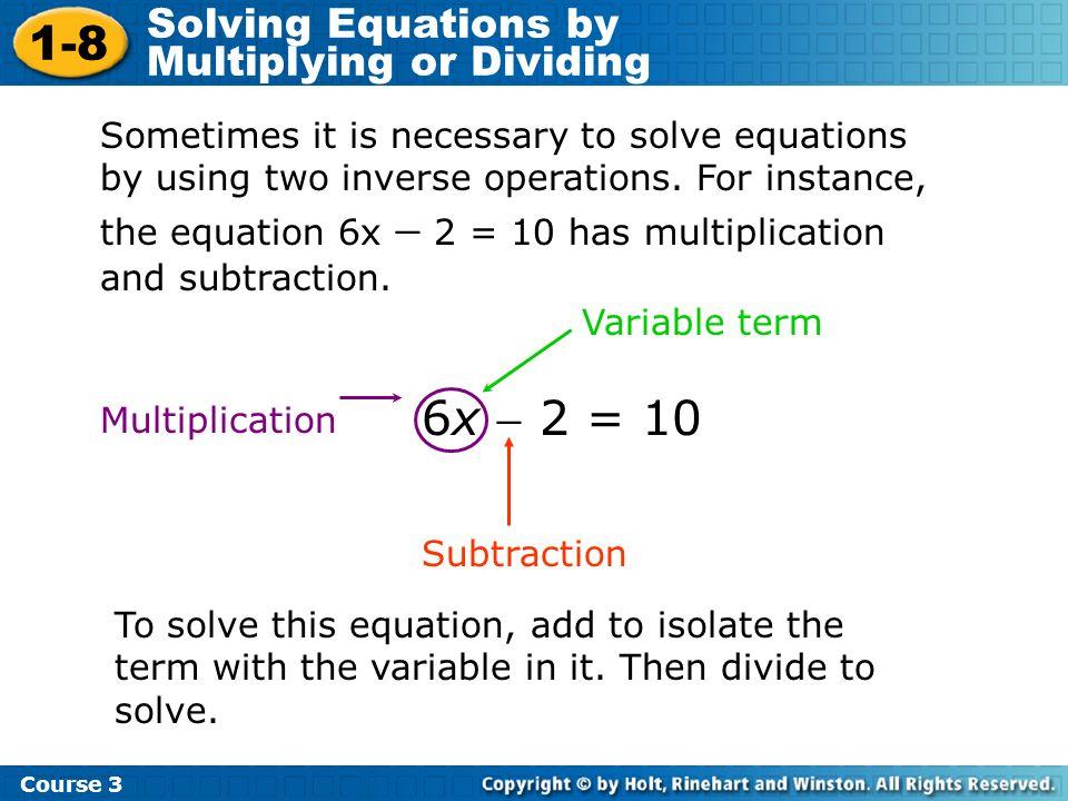 Solve 3x + 2 = 14.