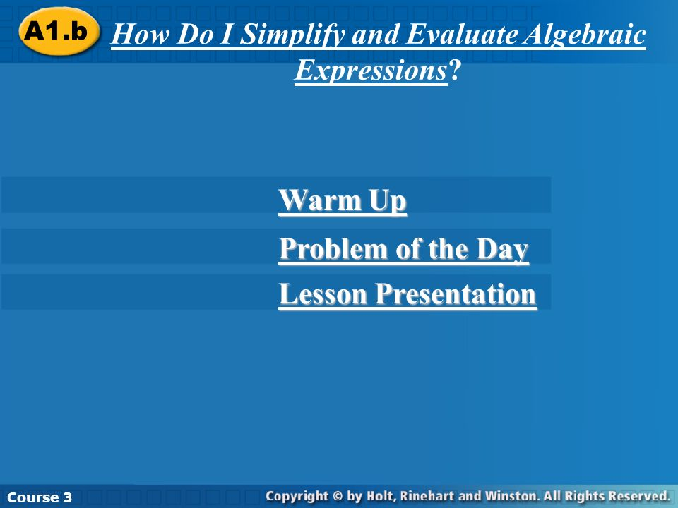 Warm Up Evaluate.1.