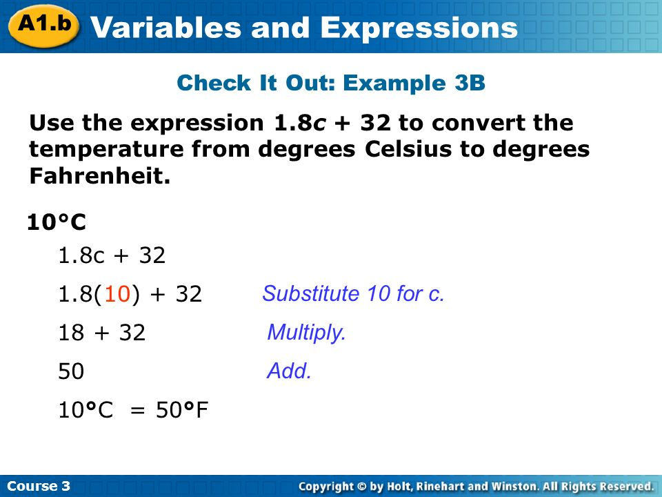 Use the expression 1.8c + 32 to convert the temperature from degrees Celsius to degrees Fahrenheit.
