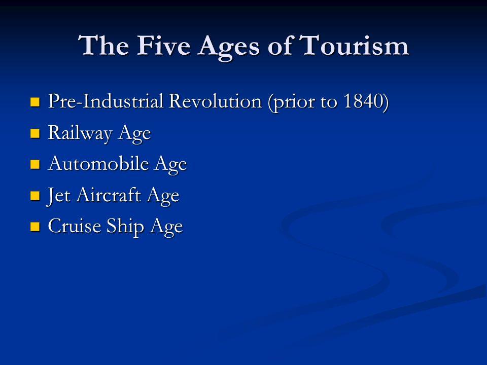 The Five Ages of Tourism Pre-Industrial Revolution (prior to 1840) Pre-Industrial Revolution (prior to 1840) Railway Age Railway Age Automobile Age Au