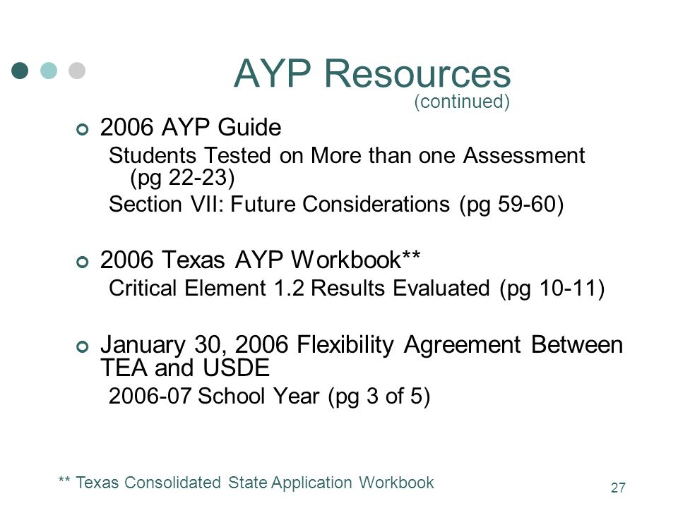 27 AYP Resources (continued) 2006 AYP Guide Students Tested on More than one Assessment (pg 22-23) Section VII: Future Considerations (pg 59-60) 2006 Texas AYP Workbook** Critical Element 1.2 Results Evaluated (pg 10-11) January 30, 2006 Flexibility Agreement Between TEA and USDE 2006-07 School Year (pg 3 of 5) ** Texas Consolidated State Application Workbook