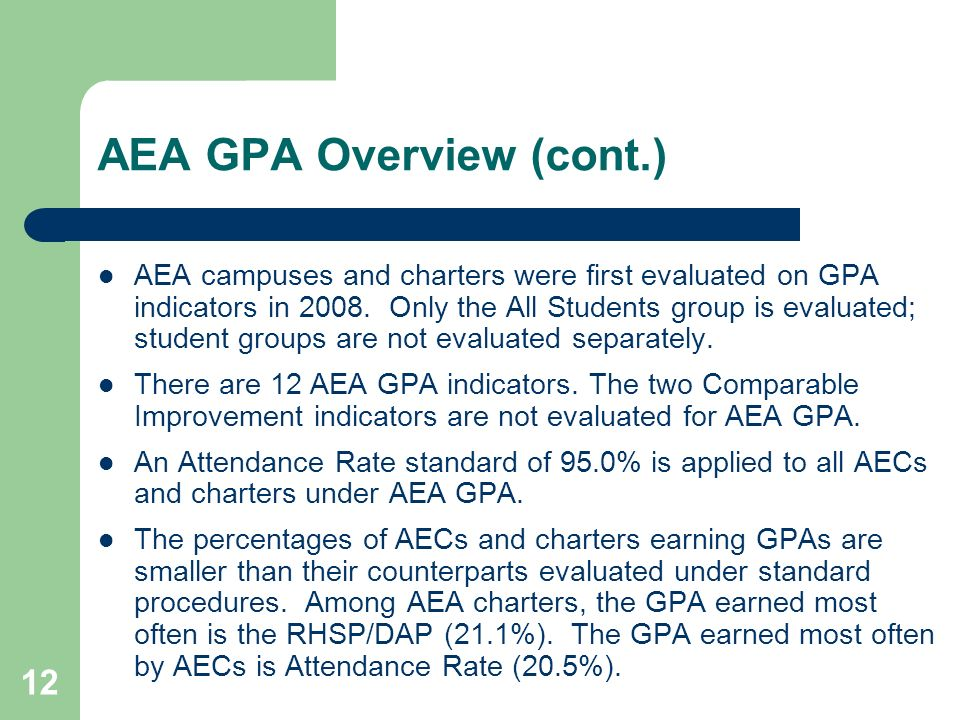 12 AEA GPA Overview (cont.) AEA campuses and charters were first evaluated on GPA indicators in 2008. Only the All Students group is evaluated; studen