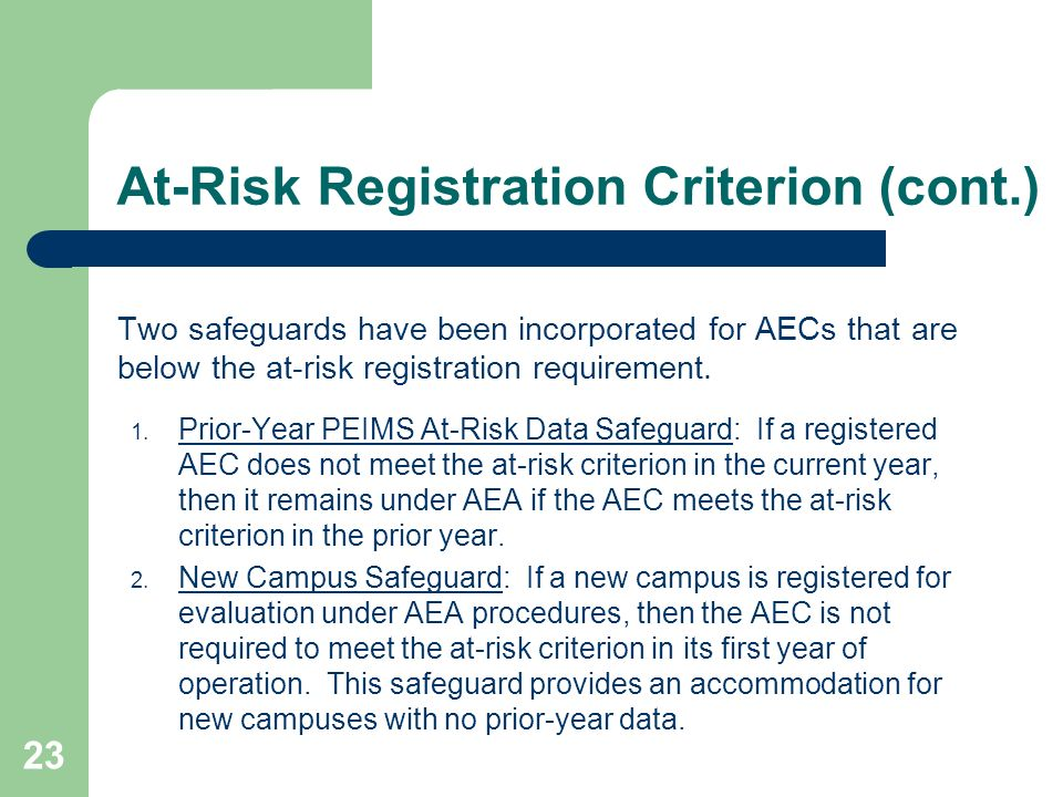 23 At-Risk Registration Criterion (cont.) Two safeguards have been incorporated for AECs that are below the at-risk registration requirement. 1. Prior